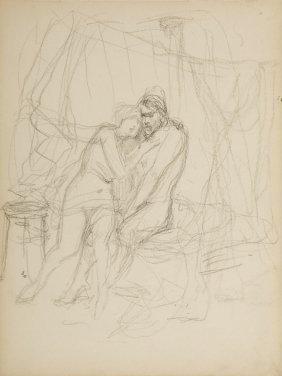 Jan Styka (1858 - 1925) Mythological Scene, Pencil On