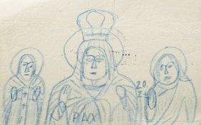 Nikifor Krynicki (1895 - 1968) Mother Of God, Crayon On