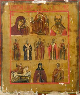 The Resurrection Of Christ And Saints, Icon, Russia,
