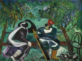 Estera Karp (carp) (1897 - 1970), Two Figures, Oil On