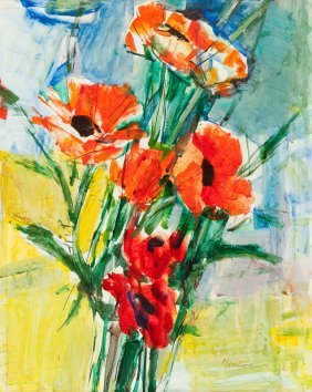 Zygmunt Jozef Menkes (1896 - 1986), Poppies, Gouache