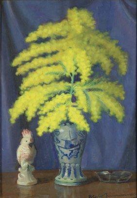 Blazej Iwanowski (1889 - 1966), Mimosa In A Vase, Oil