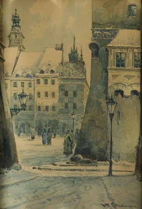 Wladyslaw Stachowicz, Old Town In Warsaw, Watercolour