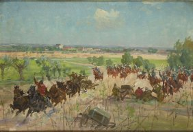 Unknown Artist, 20th Century, Battle, Oil On Cardboard,