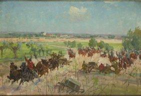 Unknown Artist, 20th Century, Battle, Oil On Cardboard,