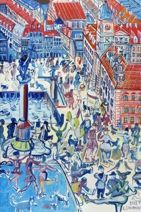 Edward Dwurnik (b. 1943) Castle Square In Warsaw, Print