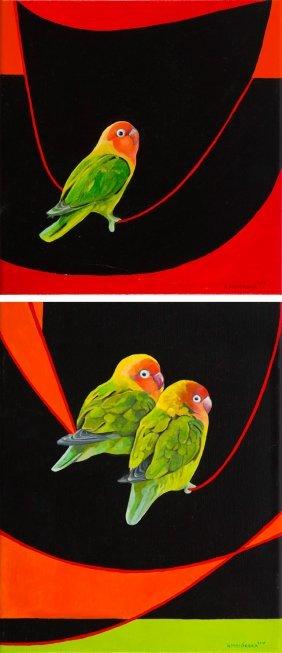 Katarzyna Misiorska (b. 1987) Parrots, Diptych, 2016,