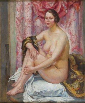 Ignacy Pienkowski (1877 - 1948), Nude With Pink