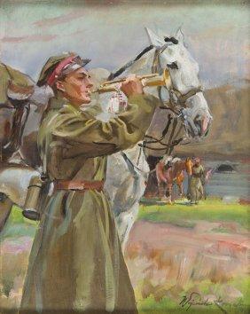 Wojciech Kossak (1856 - 1942), Bugler With A Horse,