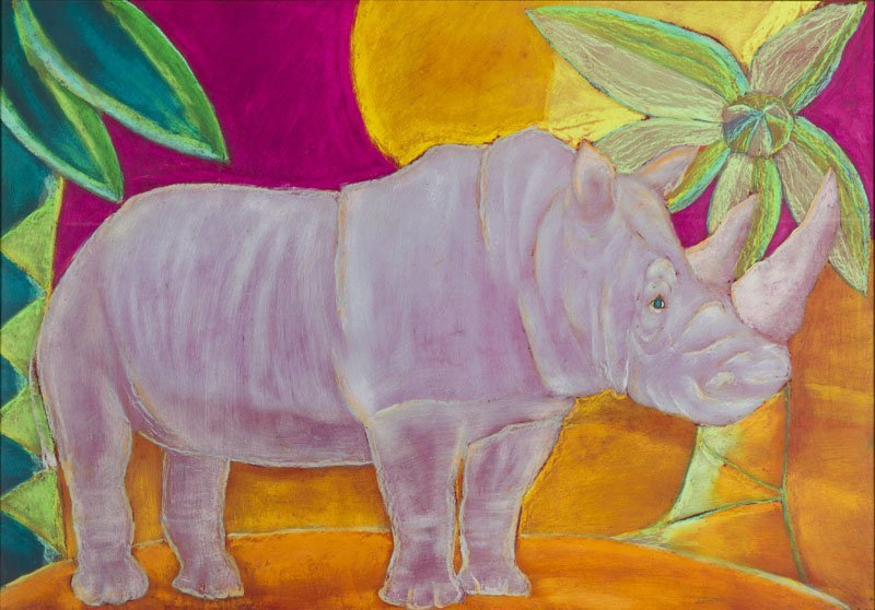 Bogna Czechowska (b. 1962) A Rhinoceros, 2008; pastel