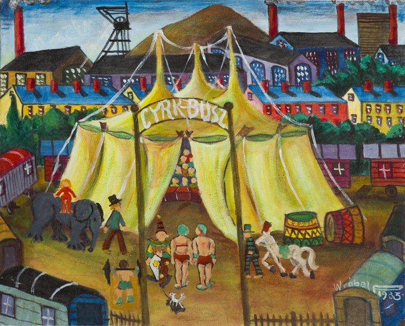 Pawel Wrobel (1913 - 1984) A Circus, 1983; oil on