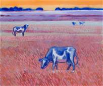 Magdalena Szilke, (b. 1983), Cows, 2016, oil on canvas,