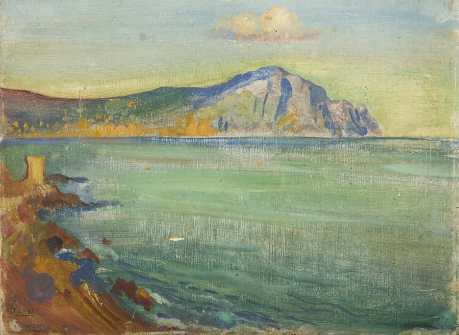 Gustaw Gwozdecki (1880 - 1935), Seashore, 1924, oil on