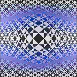 "Victor Vasarely (1906 - 1997) ""Zig-Zag"", 1986; acrylic"