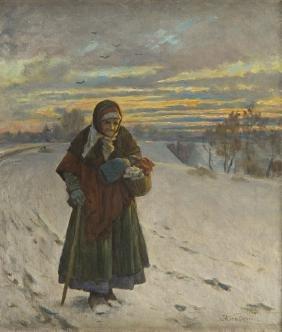 Antoni Kozakiewicz (1841 - 1929) Old Woman in a Winter