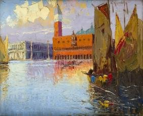 Grzegorz Mendoly (? - 1943) View of Venice; oil on