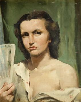 Mieczyslaw Serwin-Oracki (1912 - 1978) Woman with a Fan;
