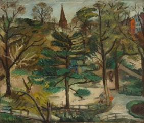 Max Band (1900 - 1974) Landscape with Church Tower; oil