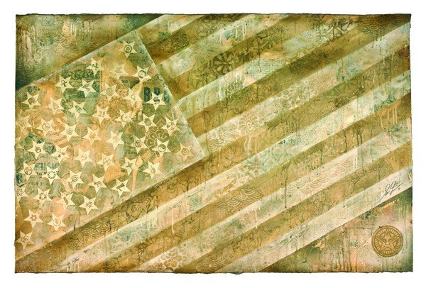 1: Shepard Fairey, Flag (White), 2011