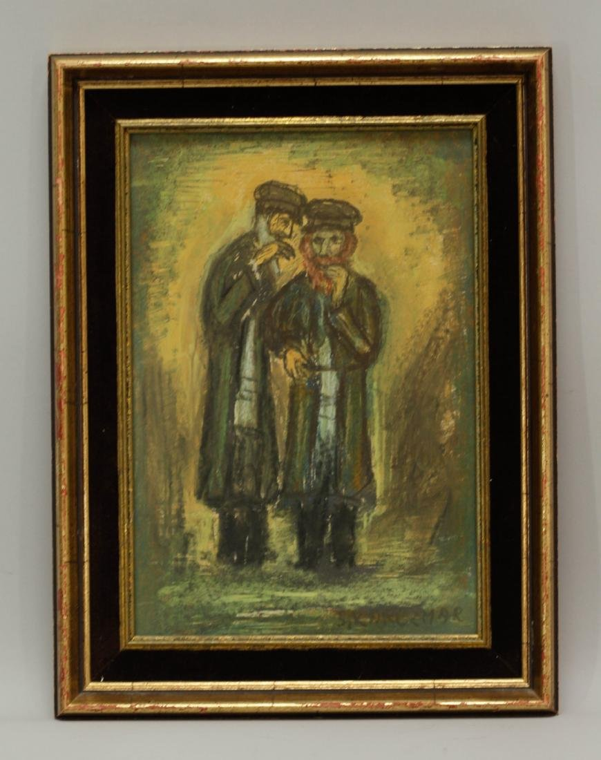 Painting of Two Jewish People Talking, Signed