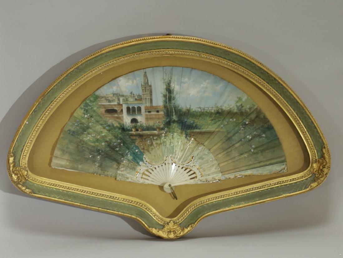 European Painting on Decorative Fan w/ Farm