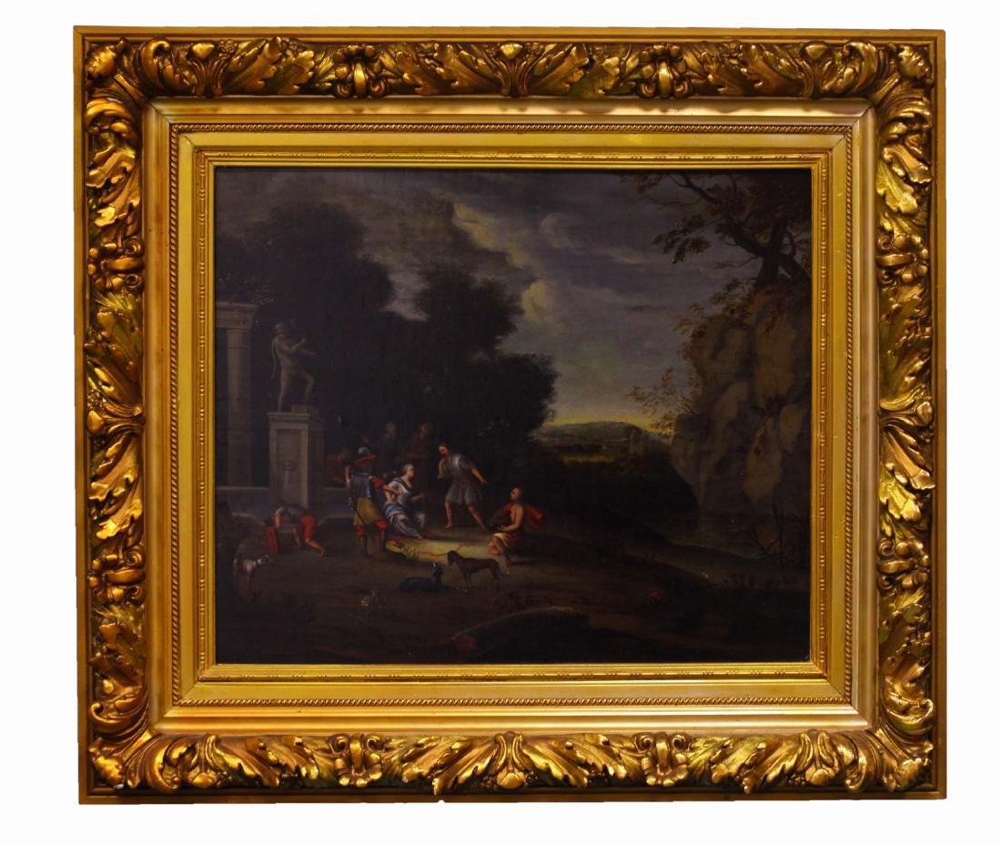 Old Master Oil on Board w/ Ornate Gold Leaf Frame