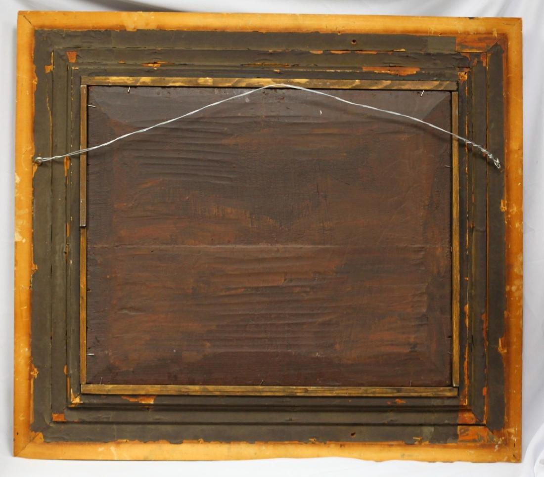 Old Master Oil on Board w/ Ornate Gold Leaf Frame - 5