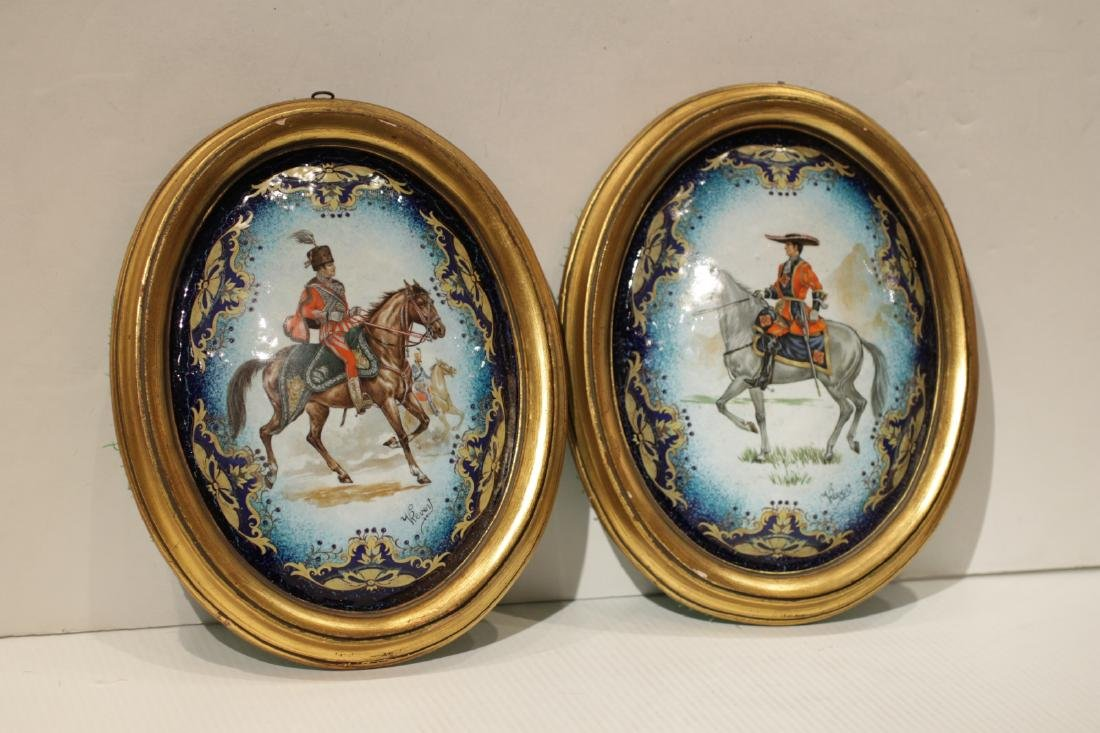2 Pieces of Enamel Wall Screen Plaques, Signed
