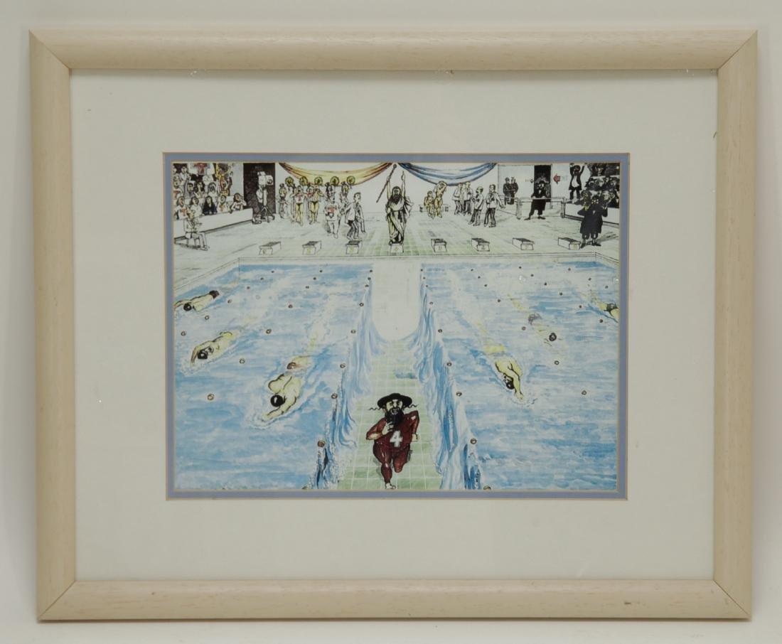 Watercolor- Rabbi Spliting the Pool, Unsigned