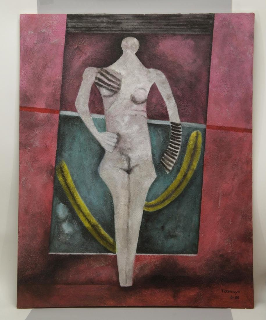 """Large Oil on Canvas Painting, Signed """"Tamayo 0-80"""""""