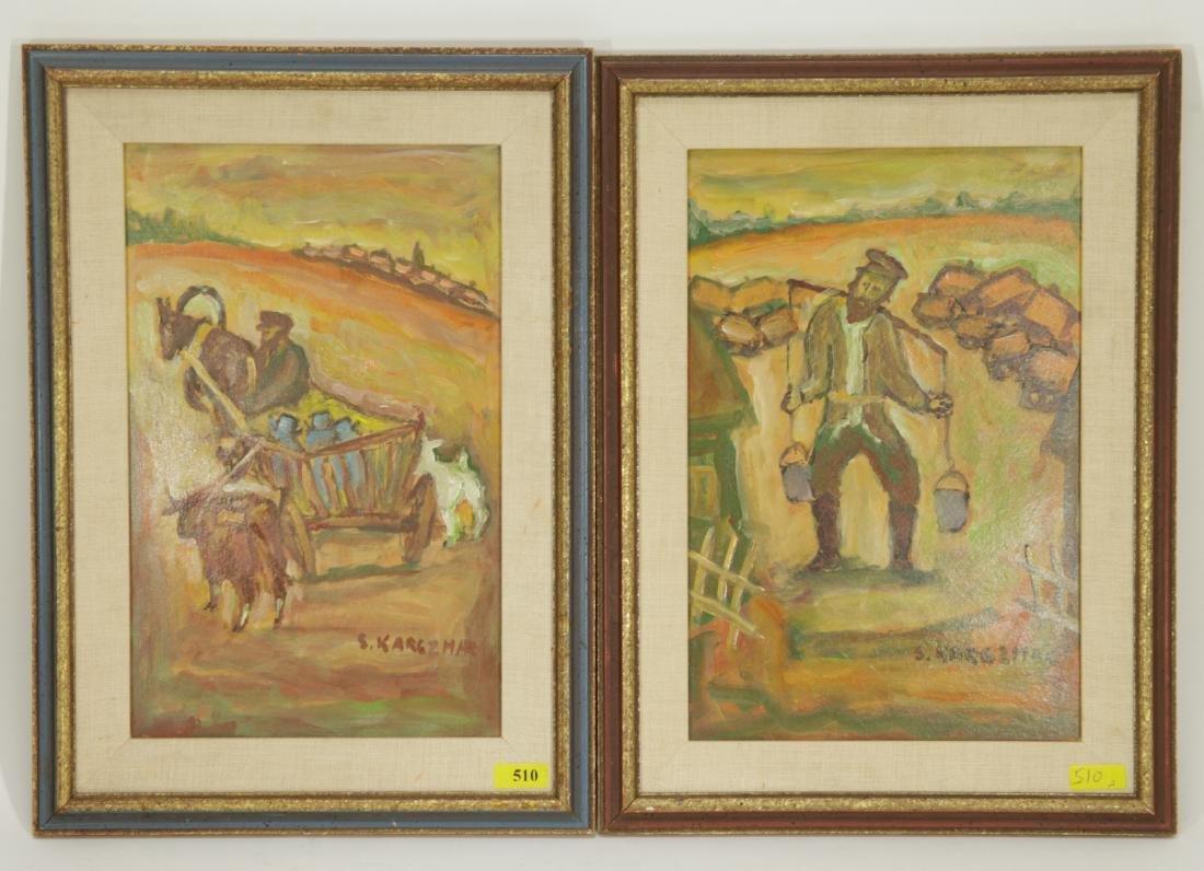 Pair of Jewish Paintings, Oil on Cardboard