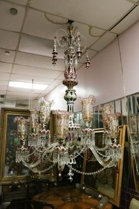 19th C. English Osler Overlay Crystal Chandelier