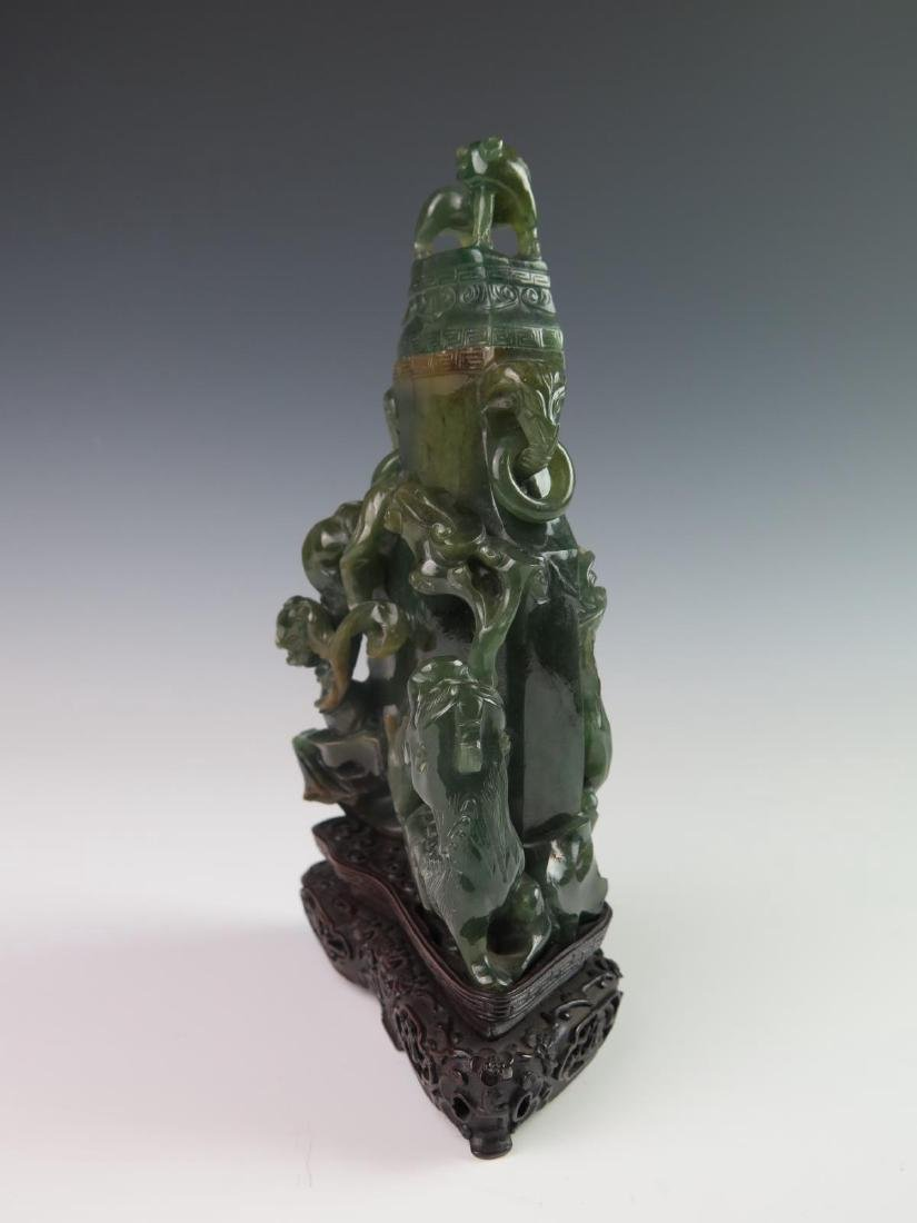 Chinese Carved Jadeite Vase w/ Cover - 5