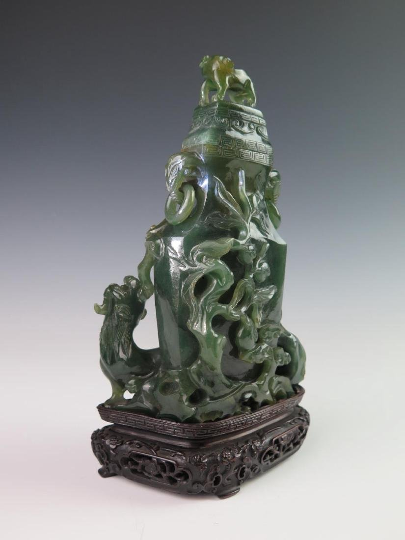 Chinese Carved Jadeite Vase w/ Cover - 6