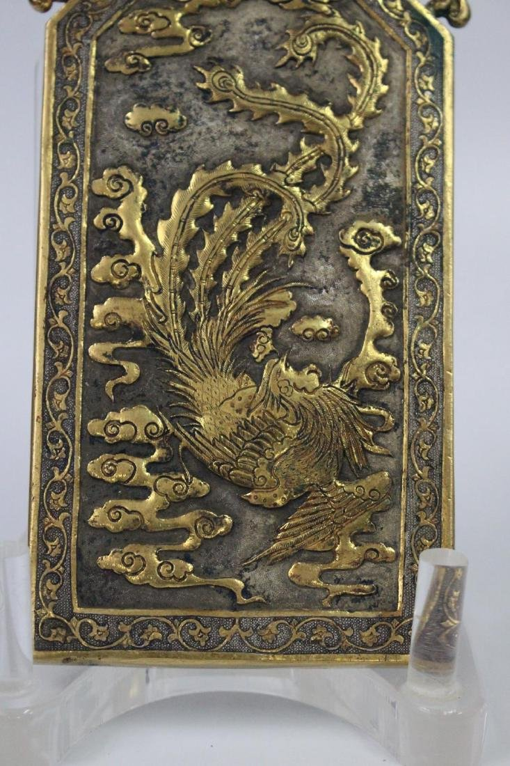 Chinese Tang Style Gilt Bronze Plaque - 3
