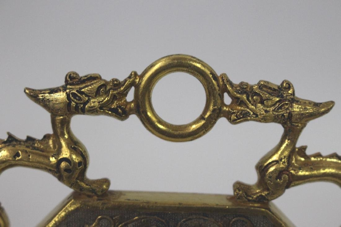 Chinese Tang Style Gilt Bronze Plaque - 4