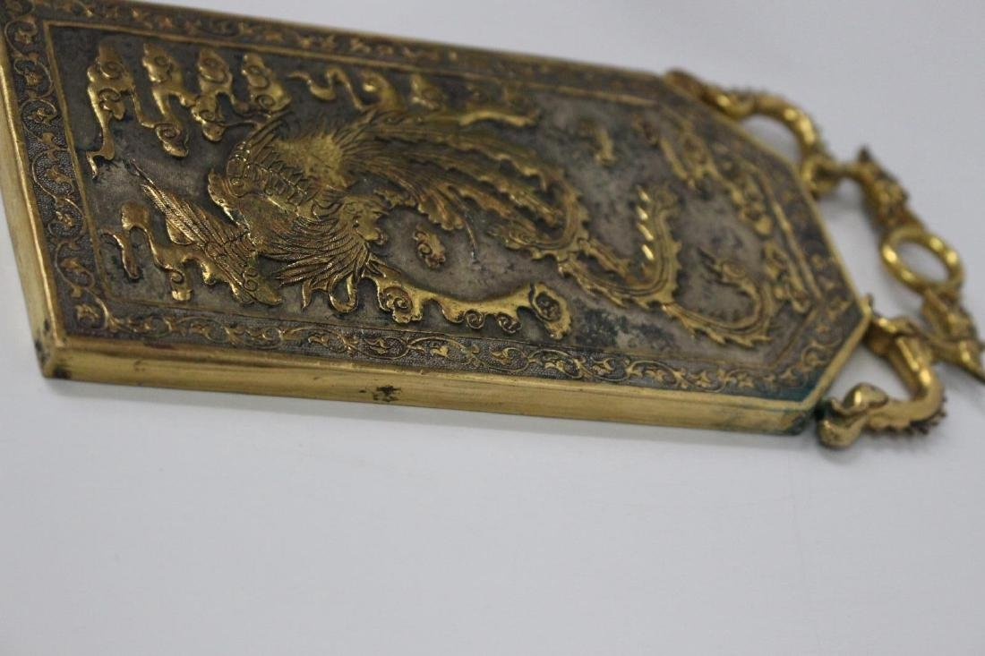 Chinese Tang Style Gilt Bronze Plaque - 5
