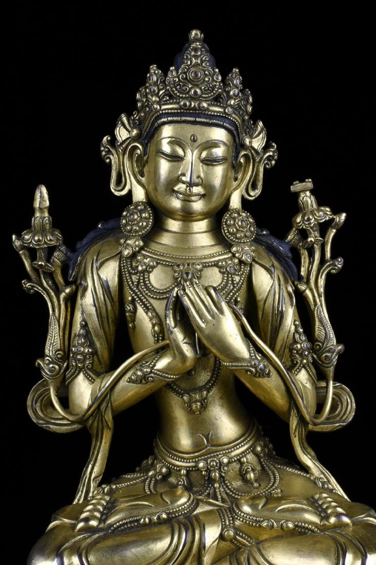 Chinese Gilt Bronze Buddha - 5