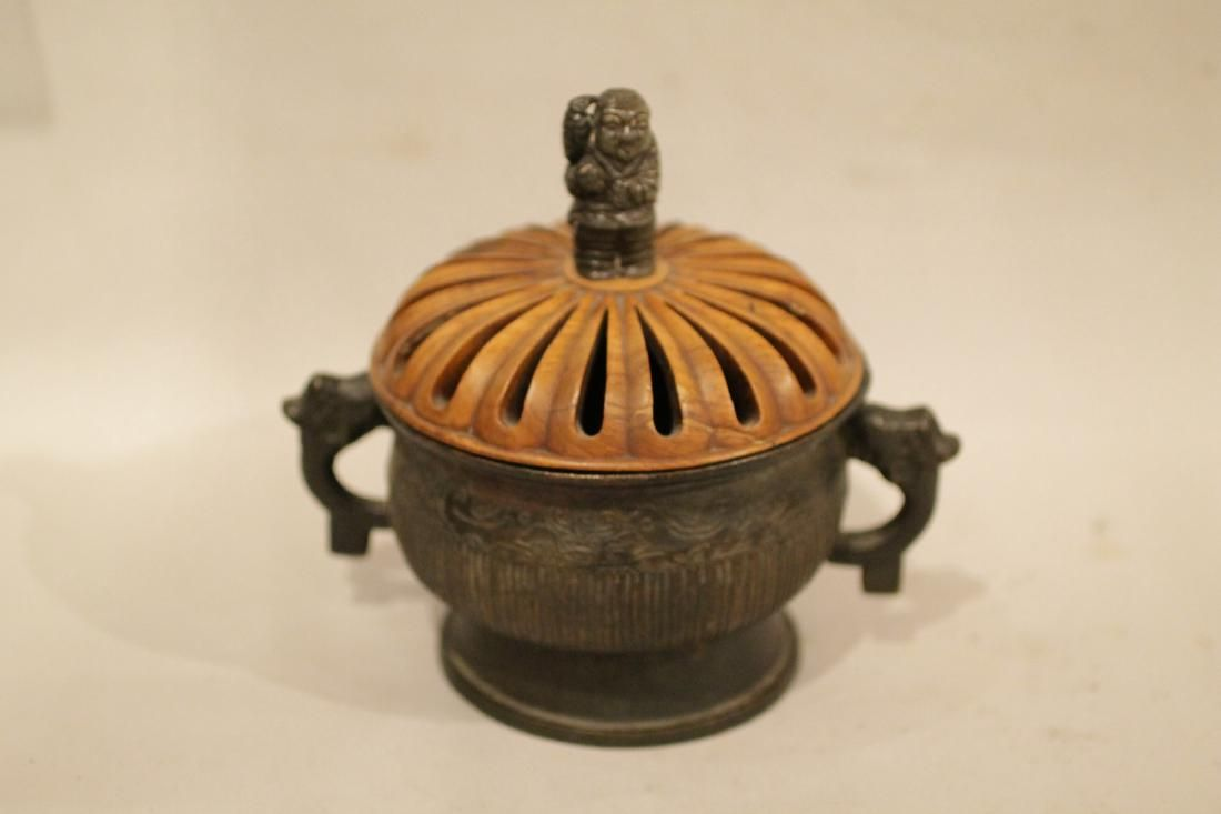 Chinese Bronze Censer w/ Wood Cover and Jade