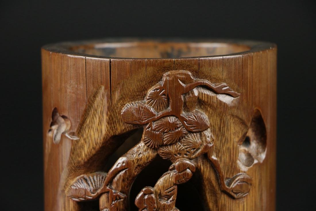 17/18th C. Chinese Bamboo Carved Brush Pot - 2