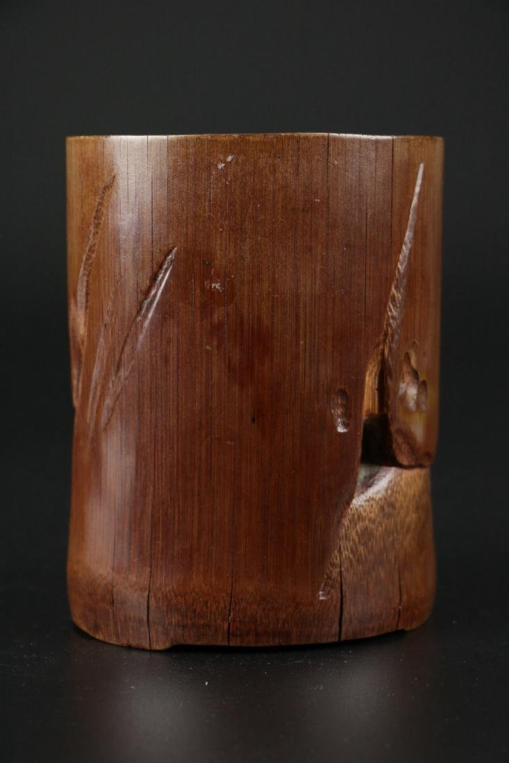 17/18th C. Chinese Bamboo Carved Brush Pot - 8