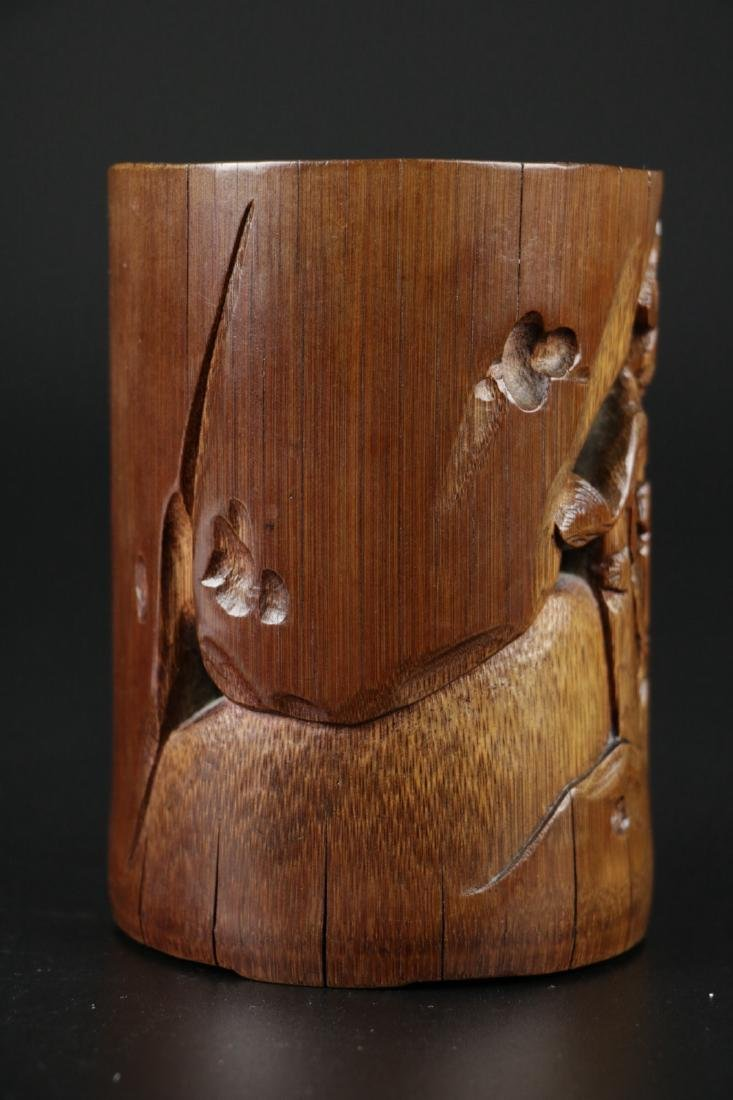 17/18th C. Chinese Bamboo Carved Brush Pot - 9
