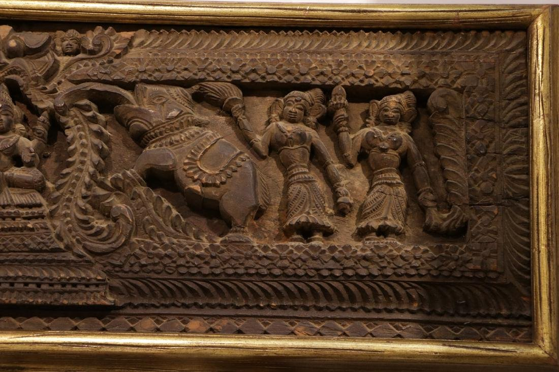 Indian Wood Carving of Panel - 3