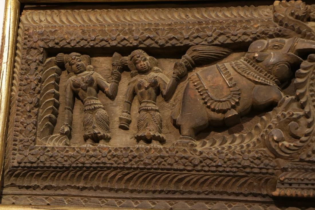 Indian Wood Carving of Panel - 5
