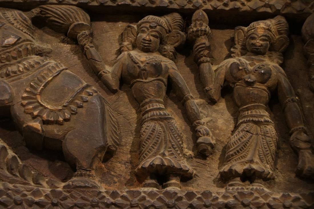 Indian Wood Carving of Panel - 7