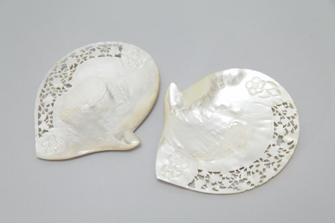 2 Large Hand Carved Mother of Pearl Shells