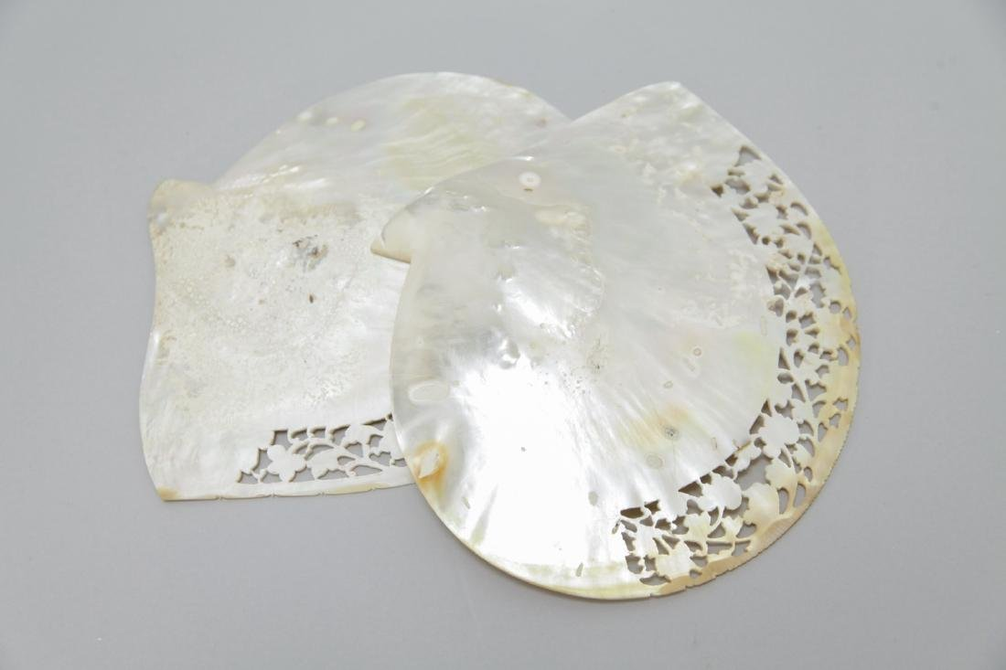 2 Large Hand Carved Mother of Pearl Shells - 6