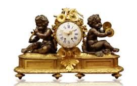 19th C 1840s French Gilt Bronze Clock