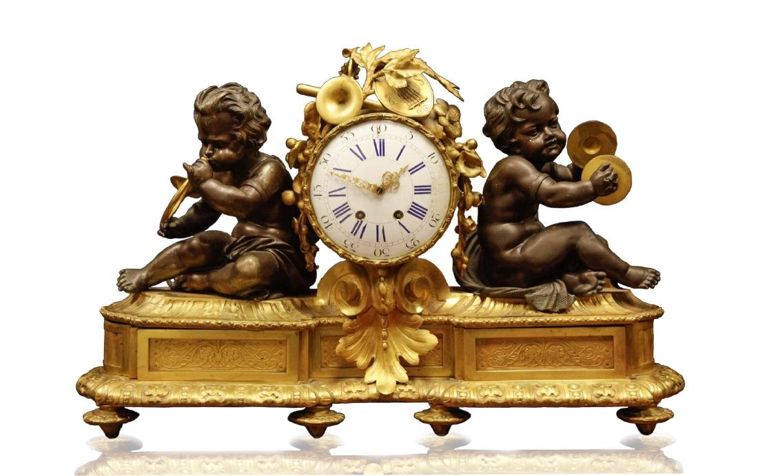 19th C. 1840's French Gilt Bronze Clock