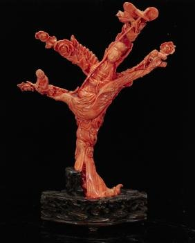 19th C. Large Red Coral Carving of Lady
